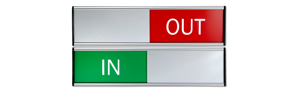 IN/OUT SLIDING SIGNS SMALL SIZE