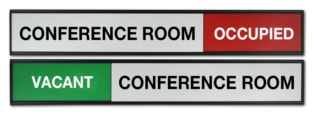 Sliding Panel Signs.Conference Room Sign with sliding top panel. Text can be customised.