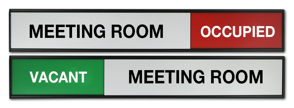 Sliding Panel Signs. Meeting room sign, sliding top panel. Occupied/Vacant