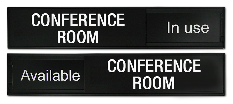 Custom Office Signs. Conference Room Sign with Sliding Top Panel. Change the message in an instant
