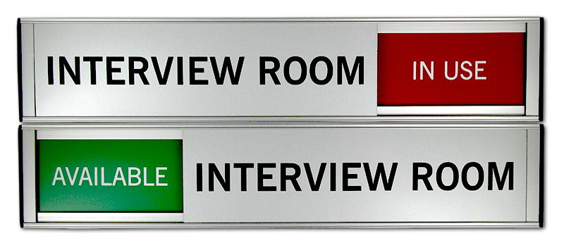 Interview Room Door Sign with Sliding Top Panel
