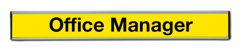 Engraved office door sign. Office Manager, Changeable nameplate